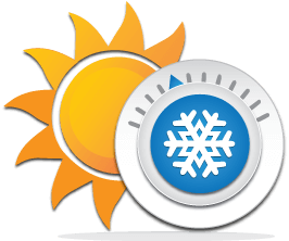 Sun and thermostat icon for climate controlled units