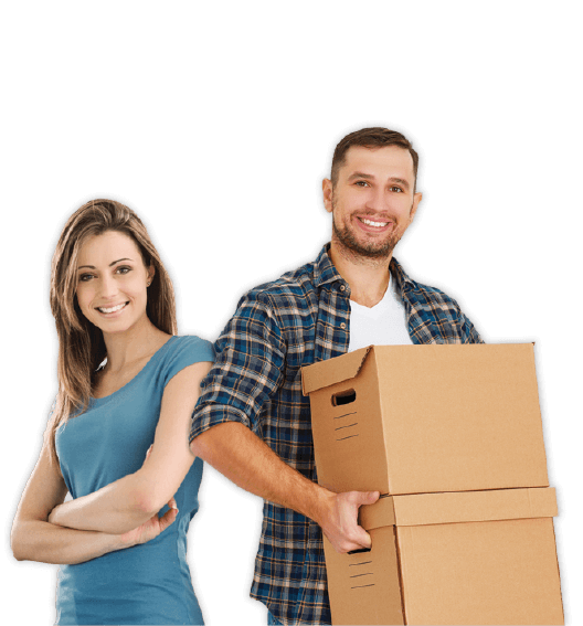 Woman and a man moving boxes